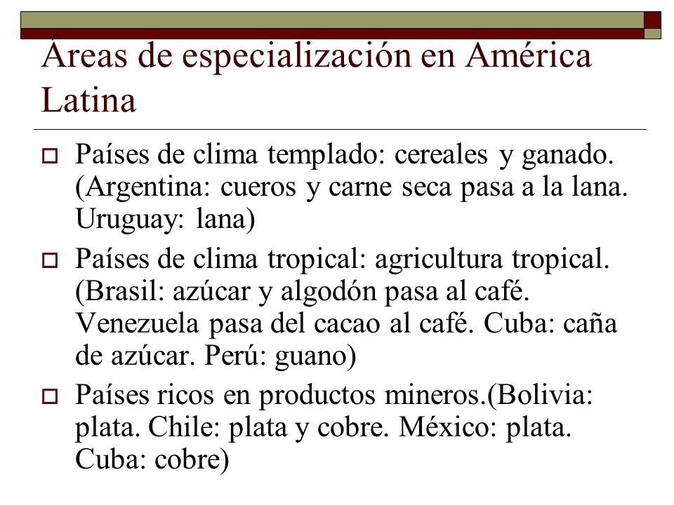 Áreas de especialización en América Latina