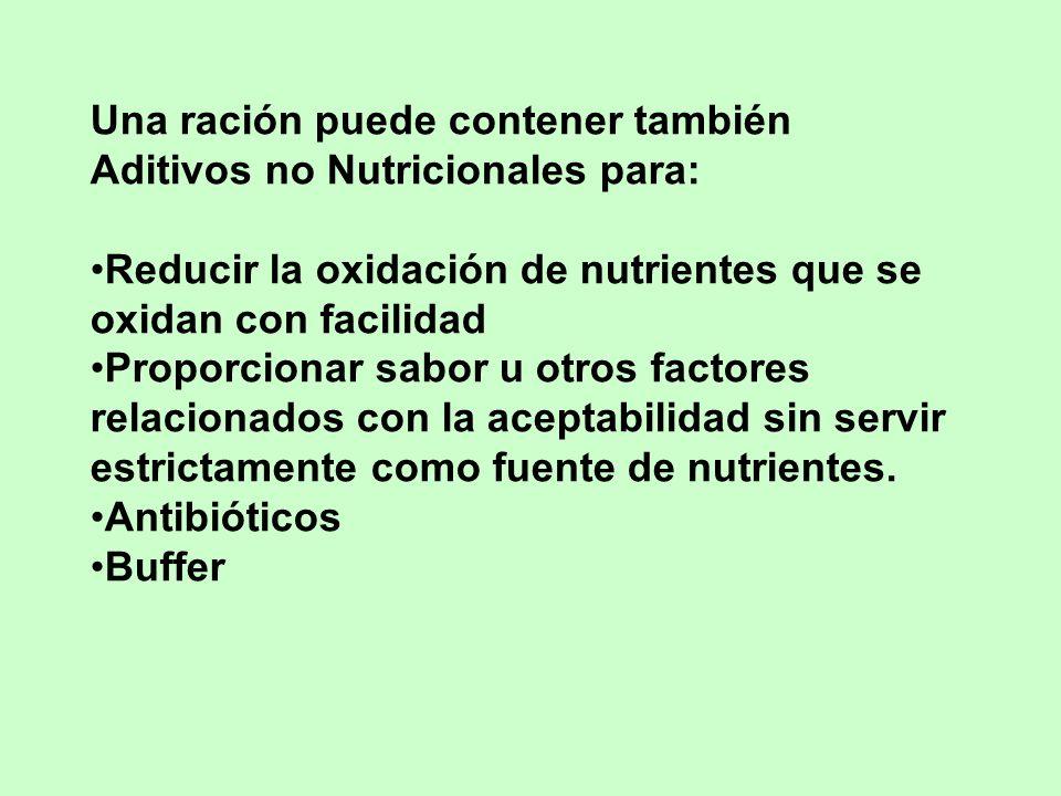 Una ración puede contener también Aditivos no Nutricionales para: