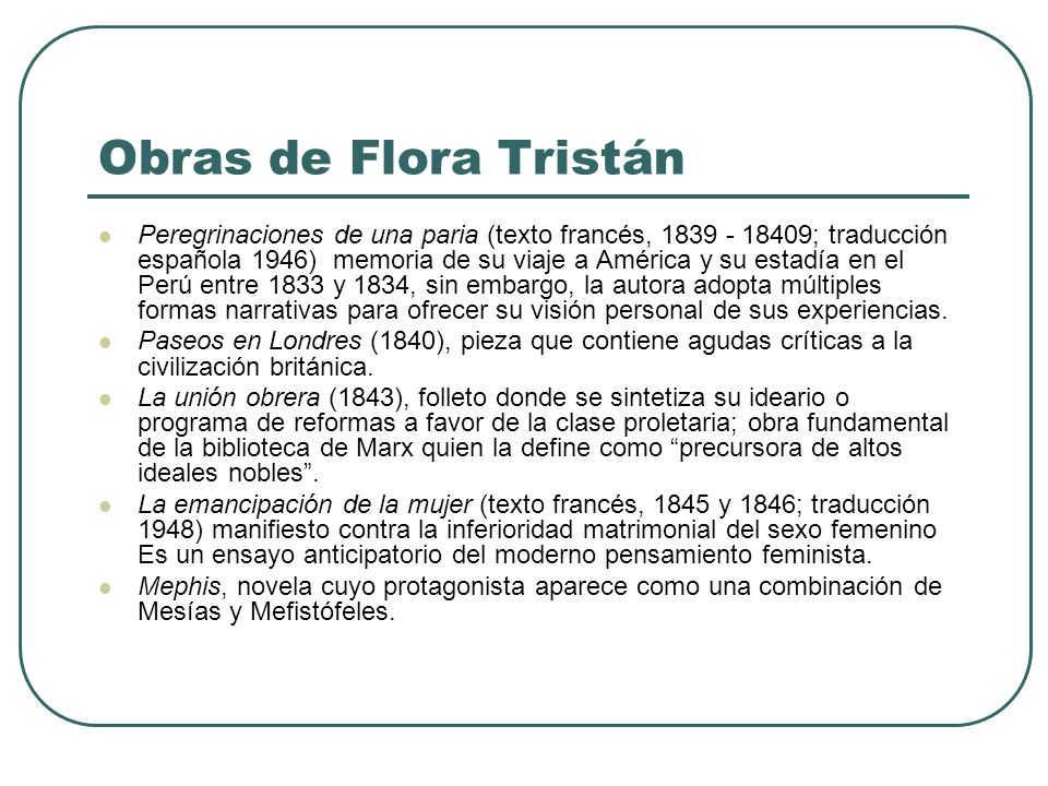 Obras de Flora Tristán