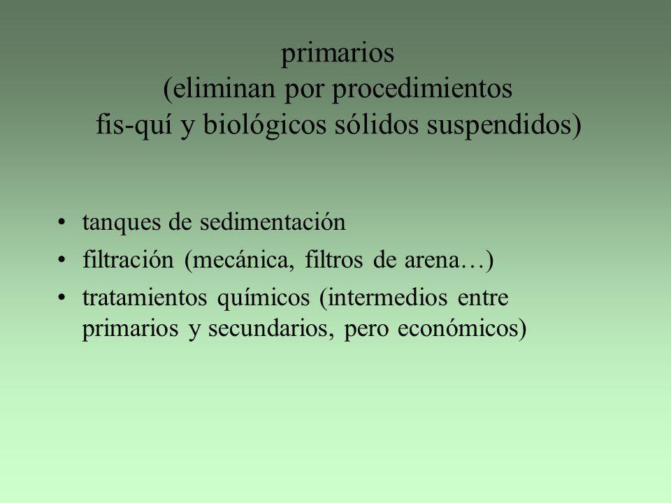 primarios (eliminan por procedimientos fis-quí y biológicos sólidos suspendidos)
