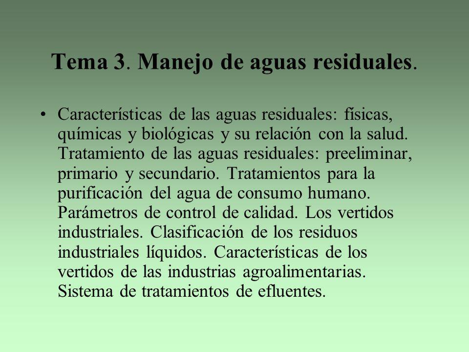 Tema 3. Manejo de aguas residuales.