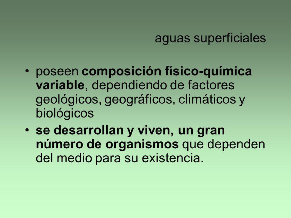 aguas superficiales poseen composición físico-química variable, dependiendo de factores geológicos, geográficos, climáticos y biológicos.