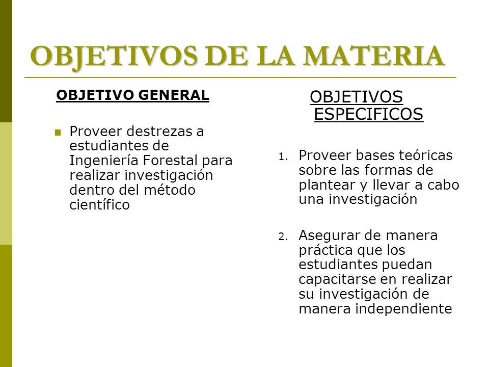 OBJETIVOS DE LA MATERIA