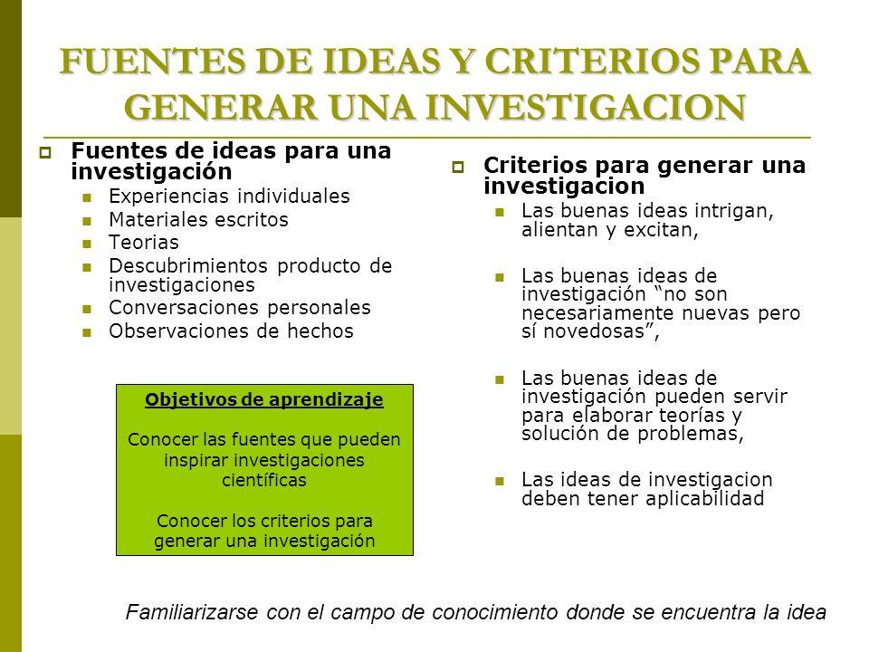 FUENTES DE IDEAS Y CRITERIOS PARA GENERAR UNA INVESTIGACION