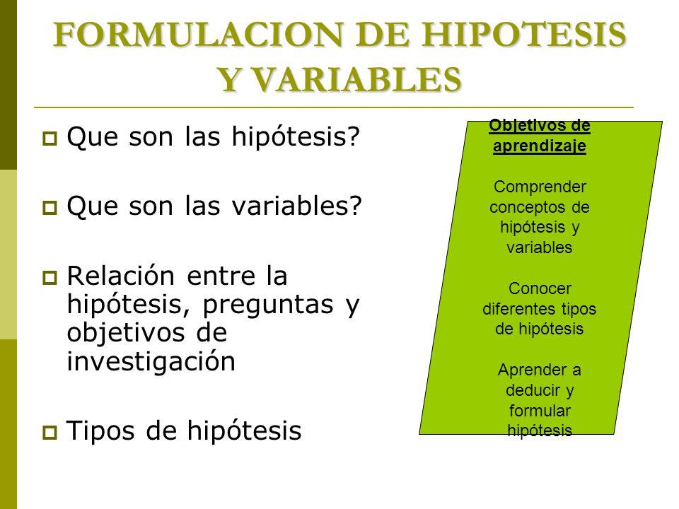 FORMULACION DE HIPOTESIS Y VARIABLES