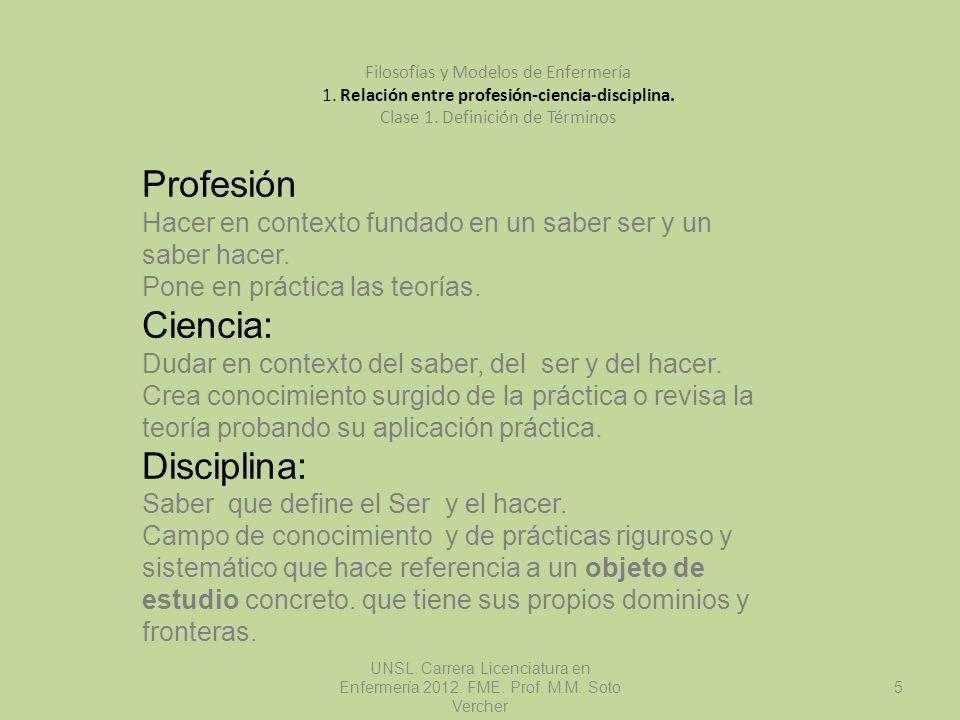 Profesión Ciencia: Disciplina: