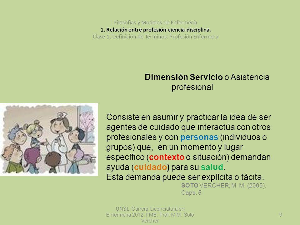 Dimensión Servicio o Asistencia profesional