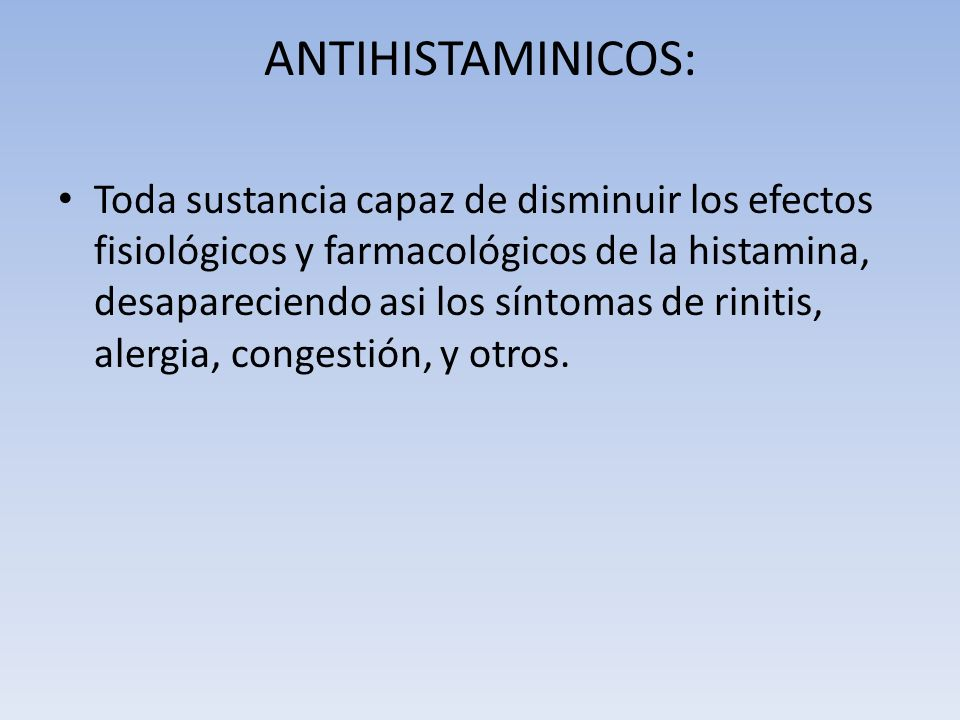 ANTIHISTAMINICOS: