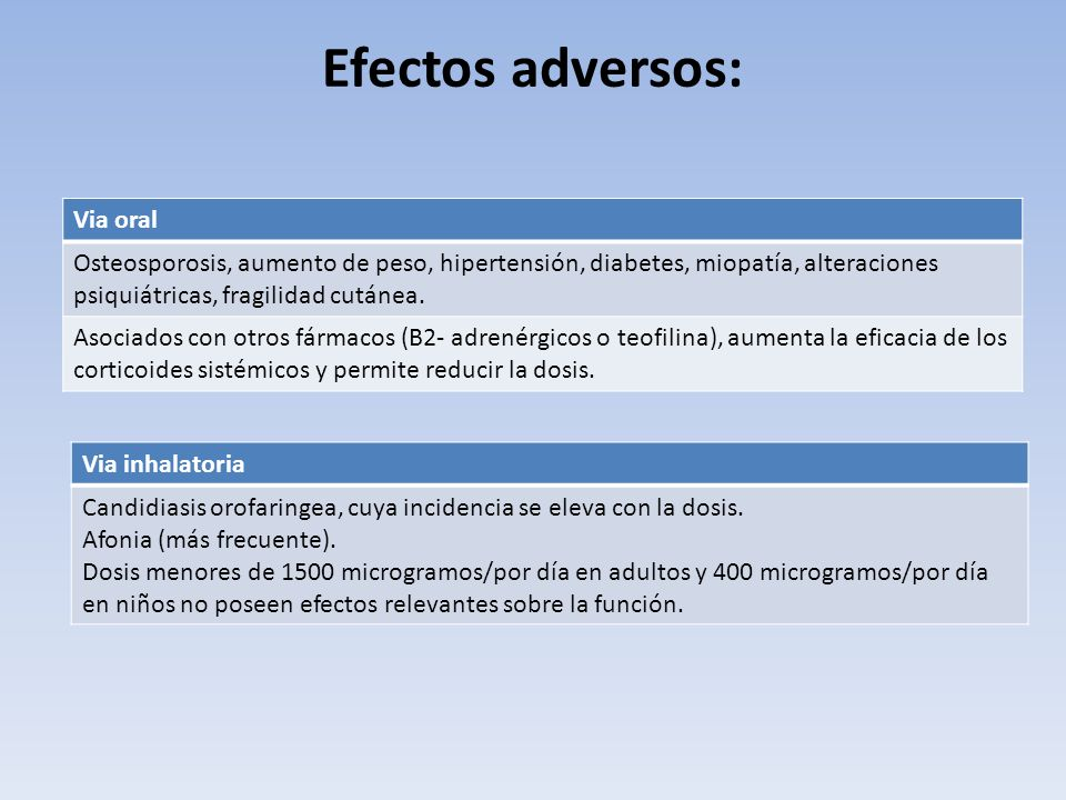 Efectos adversos: Via oral