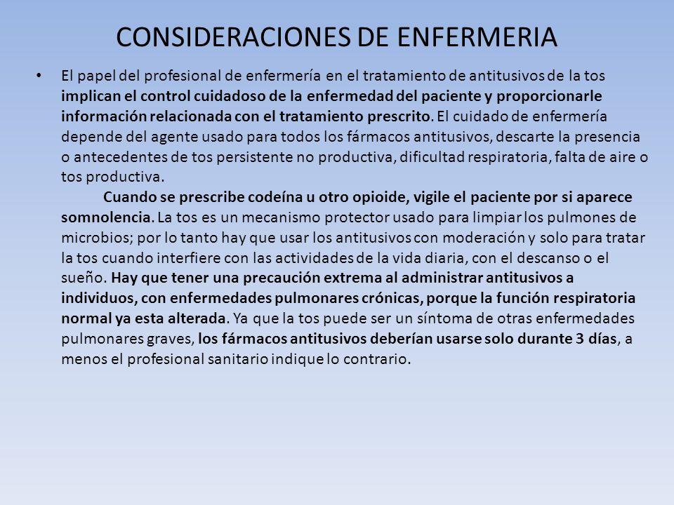 CONSIDERACIONES DE ENFERMERIA