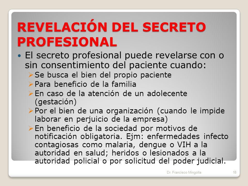 REVELACIÓN DEL SECRETO PROFESIONAL