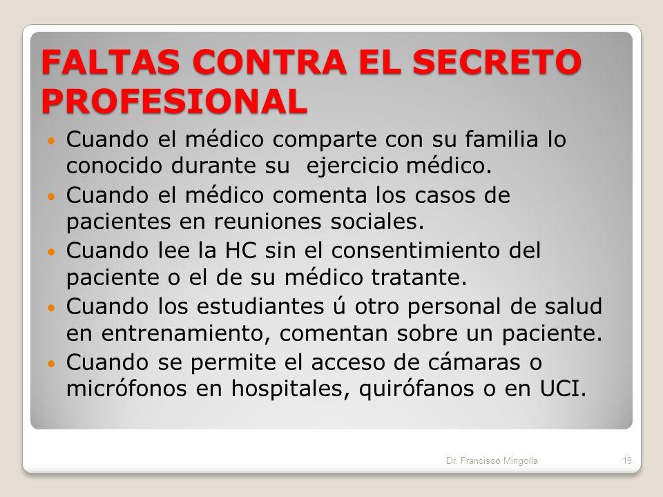 FALTAS CONTRA EL SECRETO PROFESIONAL