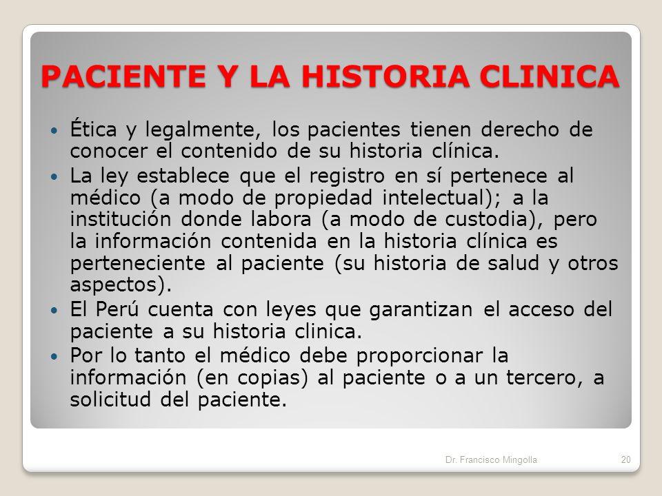 PACIENTE Y LA HISTORIA CLINICA