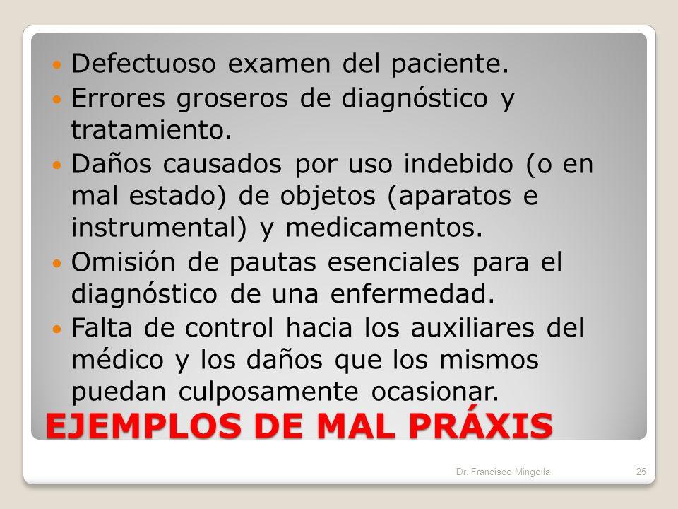 EJEMPLOS DE MAL PRÁXIS Defectuoso examen del paciente.