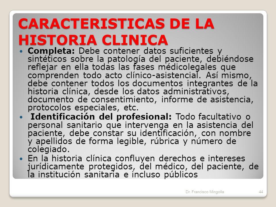 CARACTERISTICAS DE LA HISTORIA CLINICA