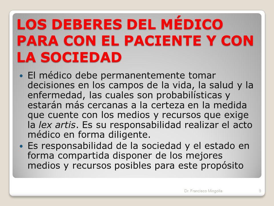 LOS DEBERES DEL MÉDICO PARA CON EL PACIENTE Y CON LA SOCIEDAD