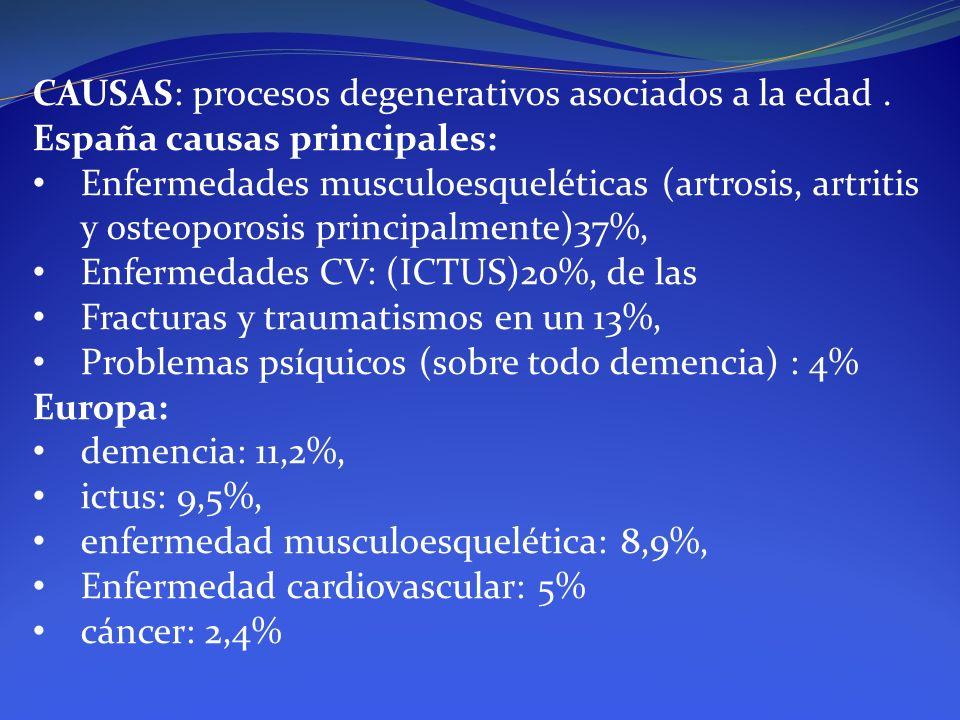 CAUSAS: procesos degenerativos asociados a la edad .