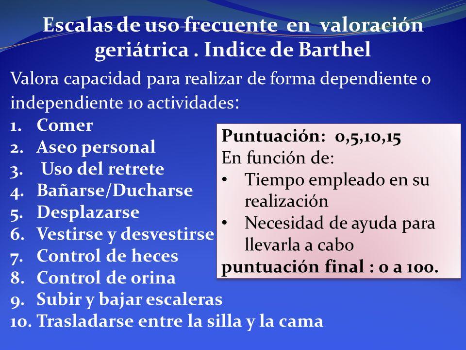 Escalas de uso frecuente en valoración geriátrica . Indice de Barthel