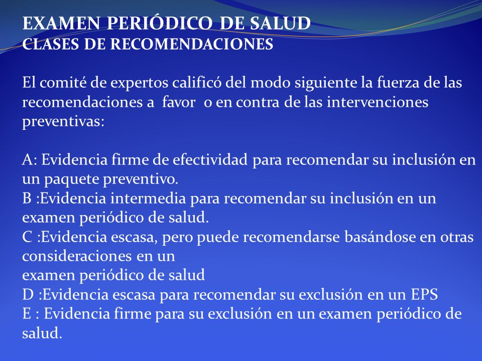 EXAMEN PERIÓDICO DE SALUD
