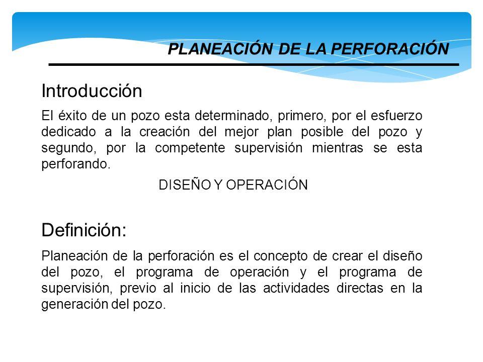 Introducción Definición: PLANEACIÓN DE LA PERFORACIÓN