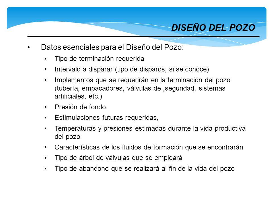 DISEÑO DEL POZO Datos esenciales para el Diseño del Pozo: