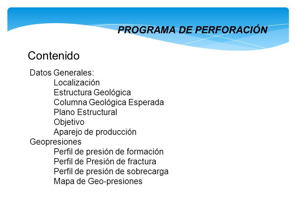 Contenido PROGRAMA DE PERFORACIÓN Datos Generales: Localización