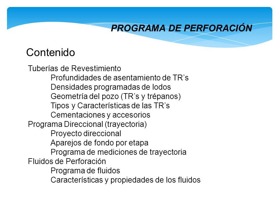 Contenido PROGRAMA DE PERFORACIÓN Tuberías de Revestimiento