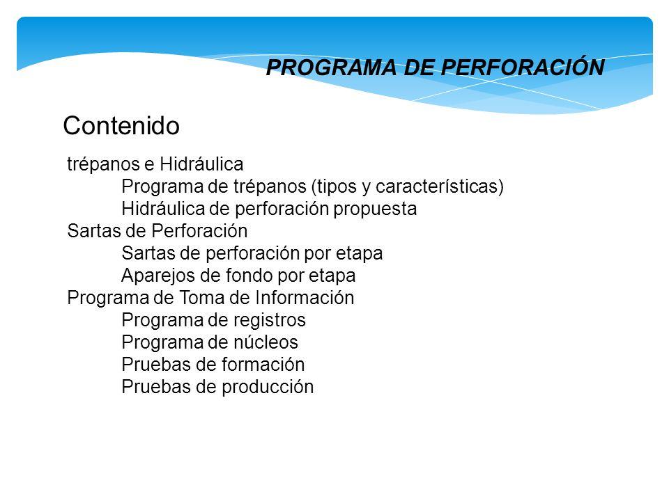 Contenido PROGRAMA DE PERFORACIÓN trépanos e Hidráulica