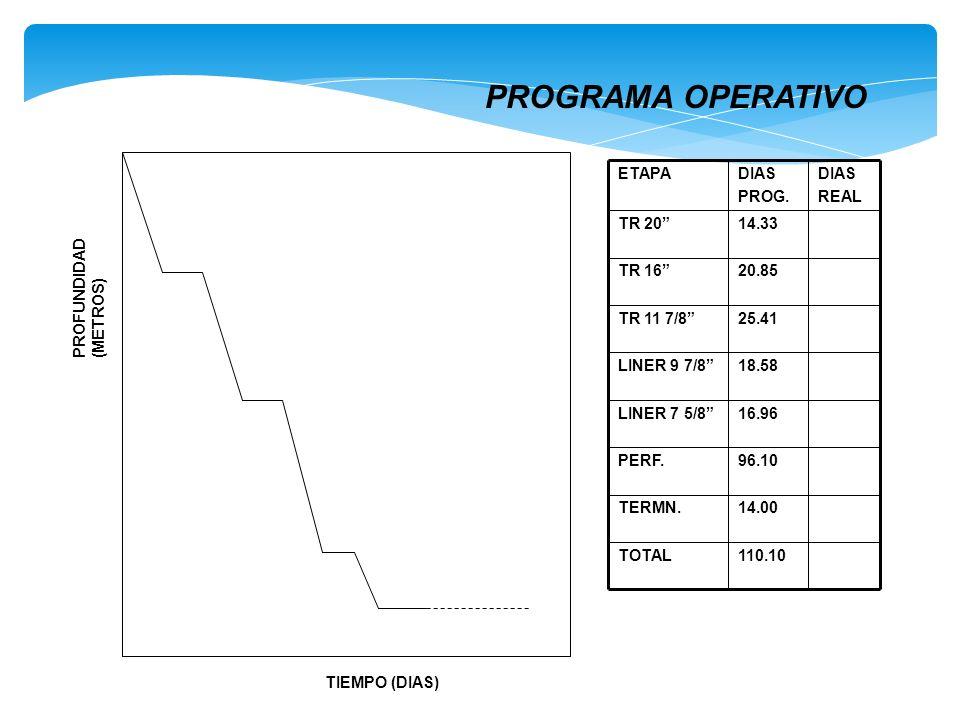 PROGRAMA OPERATIVO TIEMPO (DIAS) PROFUNDIDAD (METROS) 110.10 TOTAL