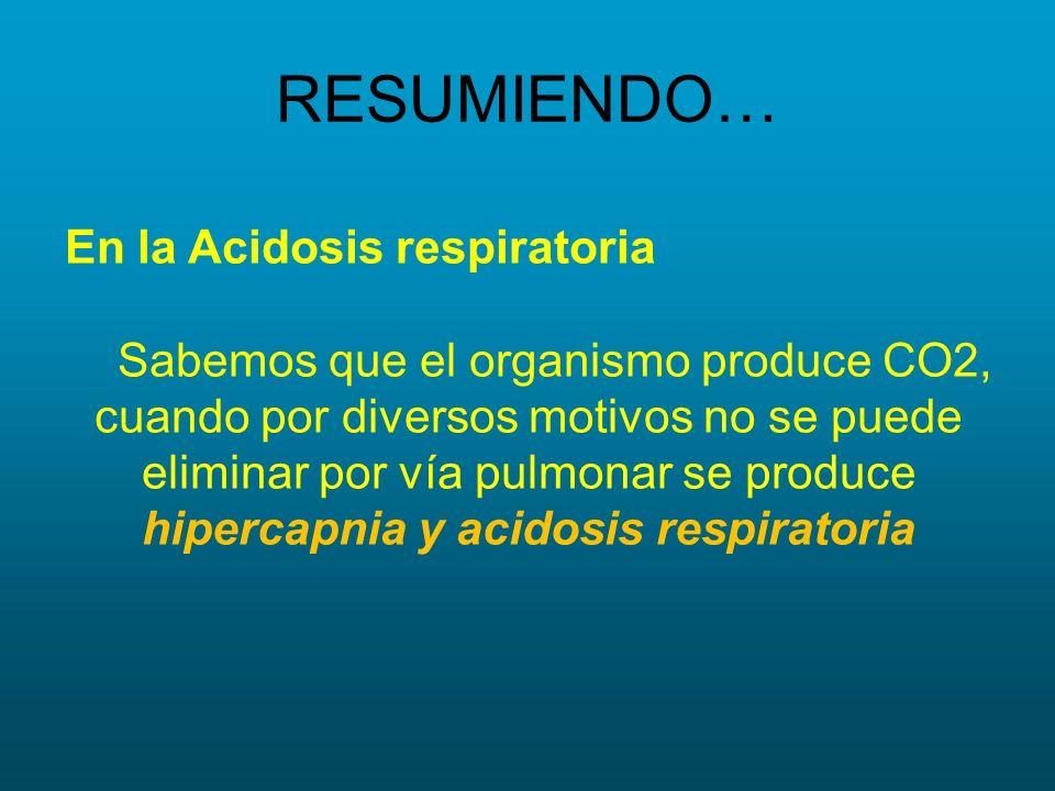 RESUMIENDO… En la Acidosis respiratoria