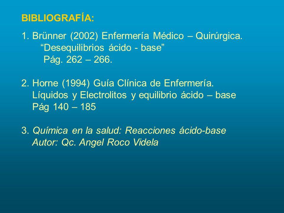 BIBLIOGRAFÍA: 1. Brünner (2002) Enfermería Médico – Quirúrgica. Desequilibrios ácido - base Pág. 262 – 266.