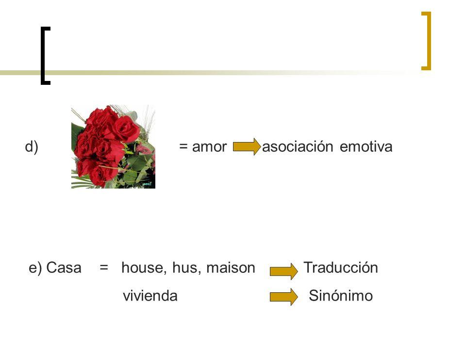 d)= amor asociación emotiva.Casa = house, hus, maison Traducción.