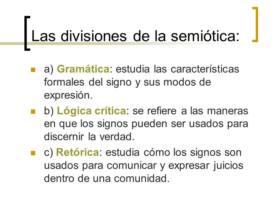 Las divisiones de la semiótica: