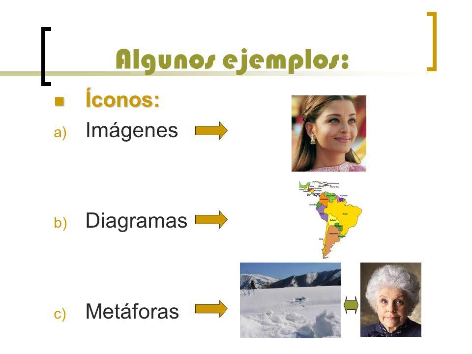 Algunos ejemplos: Íconos: Imágenes Diagramas Metáforas