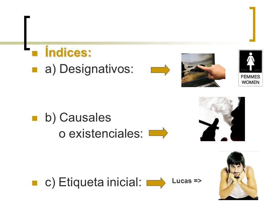 Índices: a) Designativos: b) Causales o existenciales: