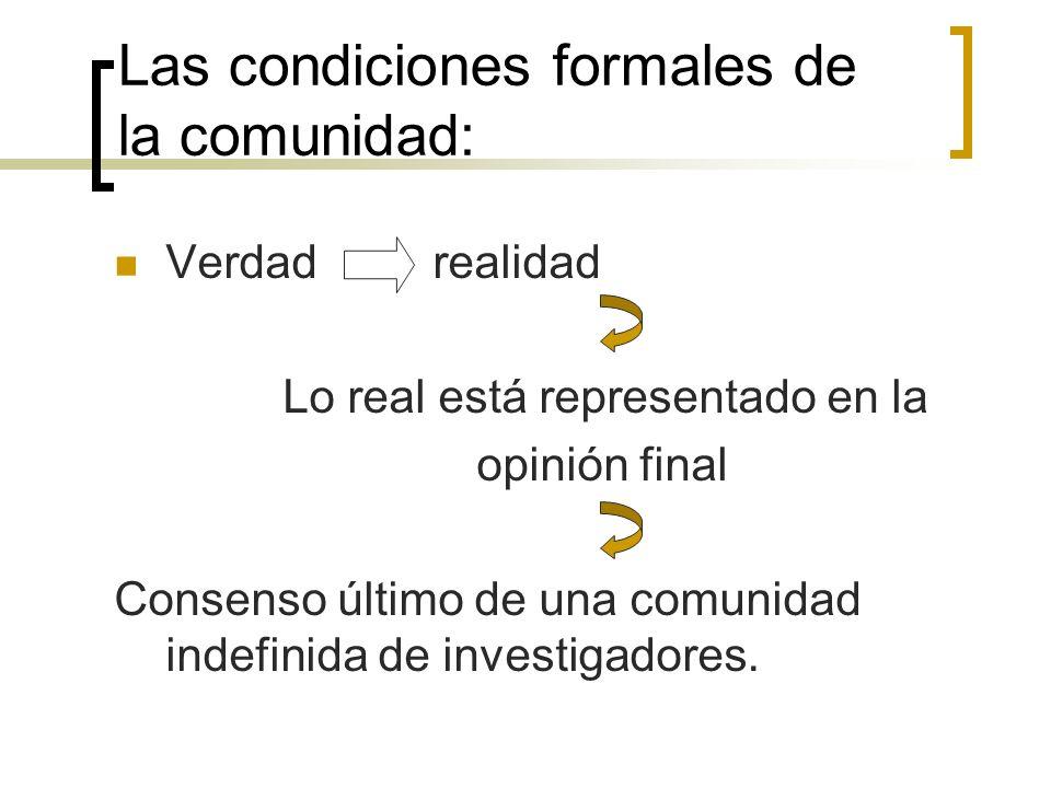 Las condiciones formales de la comunidad: