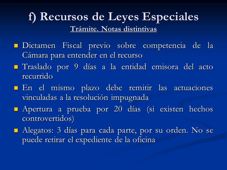 f) Recursos de Leyes Especiales Trámite. Notas distintivas
