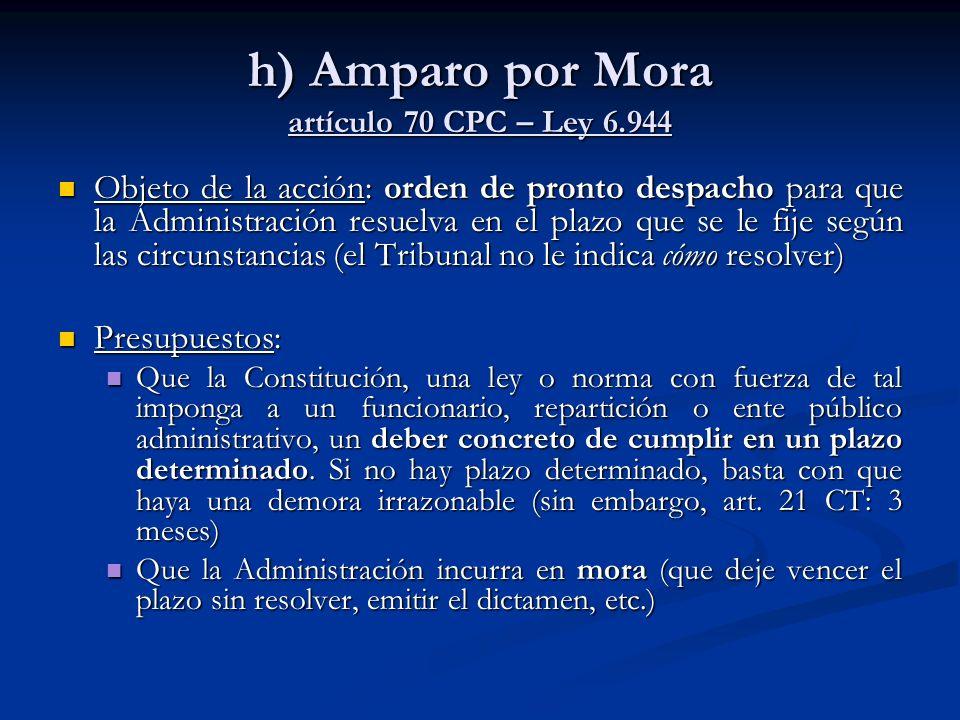 h) Amparo por Mora artículo 70 CPC – Ley 6.944