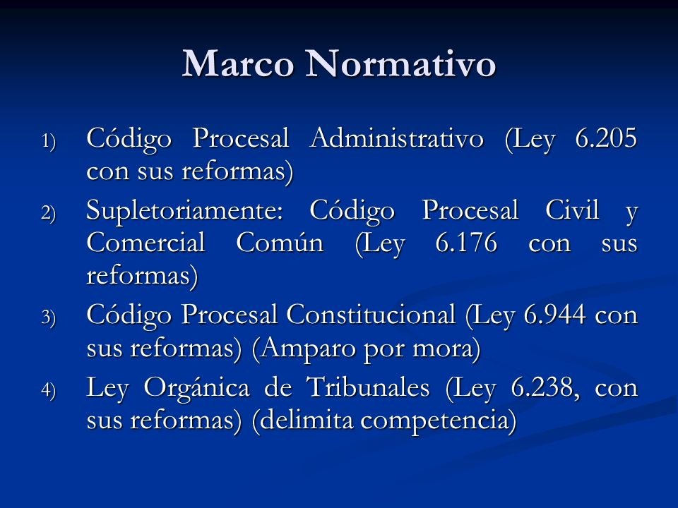 Marco Normativo Código Procesal Administrativo (Ley 6.205 con sus reformas)