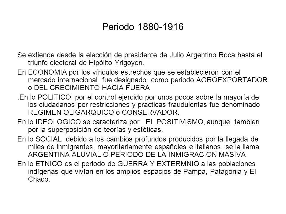 Periodo 1880-1916 Se extiende desde la elección de presidente de Julio Argentino Roca hasta el triunfo electoral de Hipólito Yrigoyen.