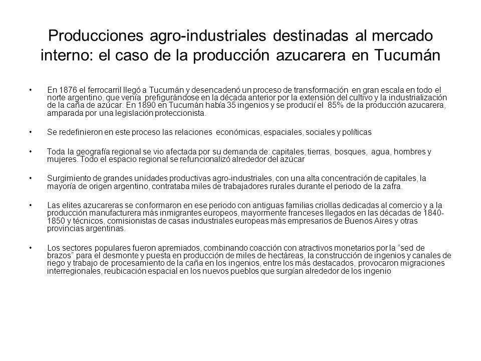 Producciones agro-industriales destinadas al mercado interno: el caso de la producción azucarera en Tucumán