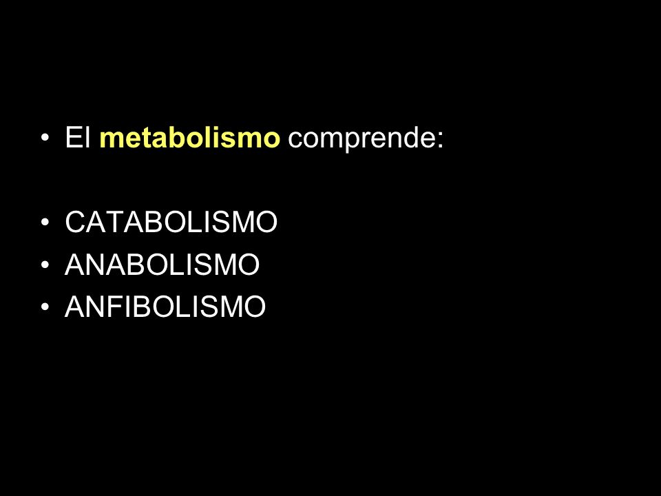 Metabolism El metabolismo comprende: CATABOLISMO ANABOLISMO