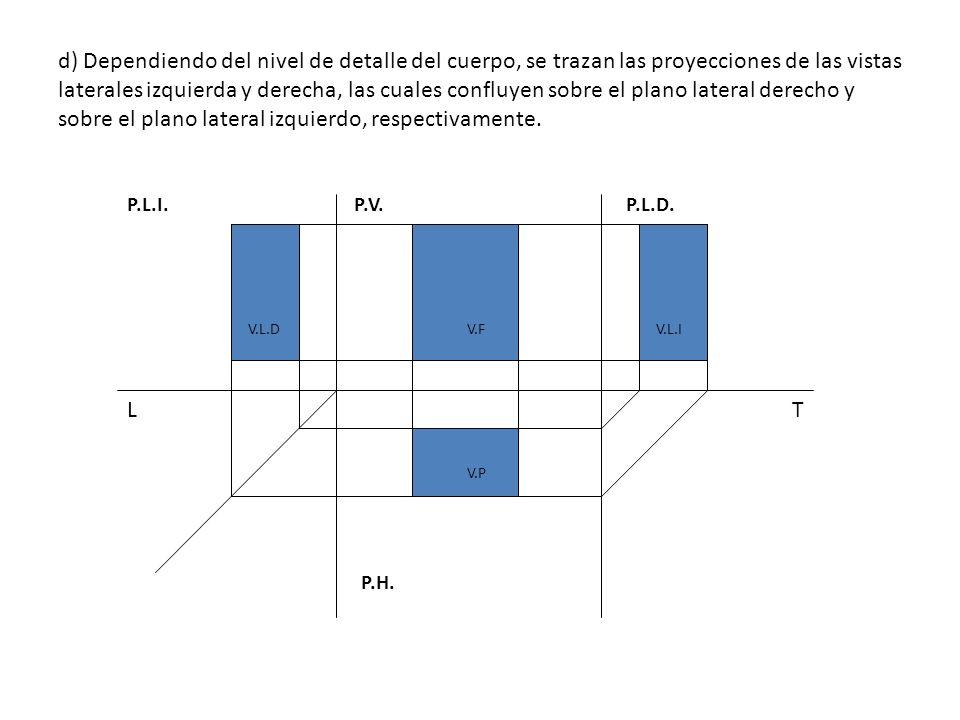 d) Dependiendo del nivel de detalle del cuerpo, se trazan las proyecciones de las vistas laterales izquierda y derecha, las cuales confluyen sobre el plano lateral derecho y sobre el plano lateral izquierdo, respectivamente.