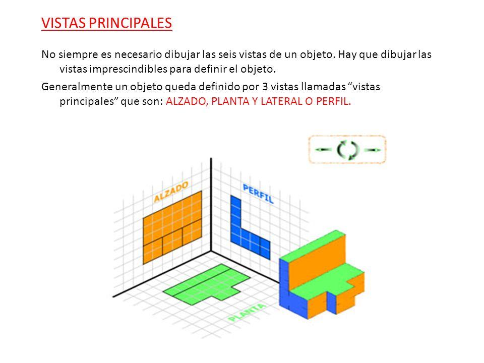 VISTAS PRINCIPALES No siempre es necesario dibujar las seis vistas de un objeto. Hay que dibujar las vistas imprescindibles para definir el objeto.