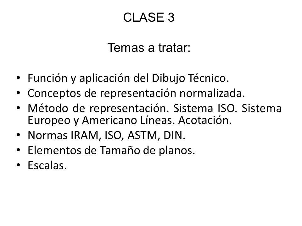 CLASE 3Temas a tratar: Función y aplicación del Dibujo Técnico. Conceptos de representación normalizada.