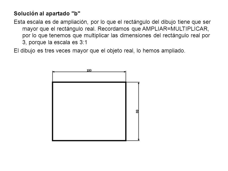 Solución al apartado b Esta escala es de ampliación, por lo que el rectángulo del dibujo tiene que ser mayor que el rectángulo real.