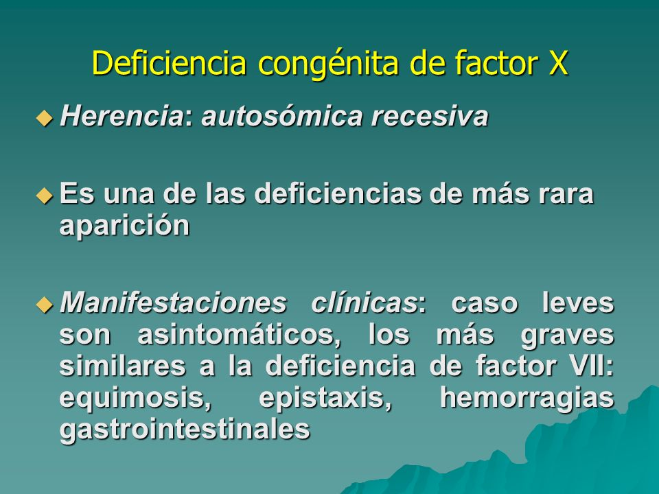 Deficiencia congénita de factor X