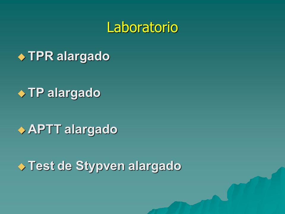 Laboratorio TPR alargado TP alargado APTT alargado