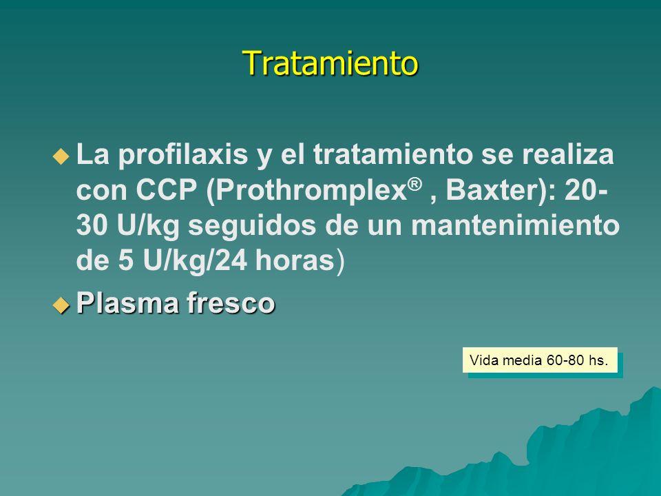 Tratamiento La profilaxis y el tratamiento se realiza con CCP (Prothromplex® , Baxter): 20-30 U/kg seguidos de un mantenimiento de 5 U/kg/24 horas)