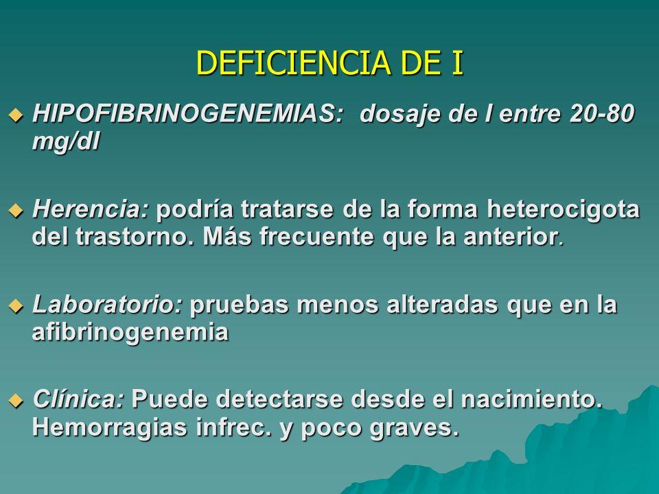 DEFICIENCIA DE I HIPOFIBRINOGENEMIAS: dosaje de I entre 20-80 mg/dl